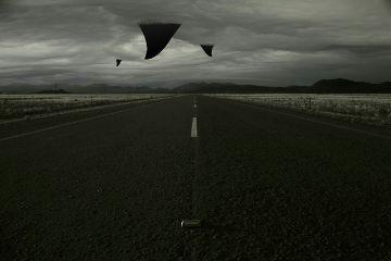 shark clouds road blackandwhite