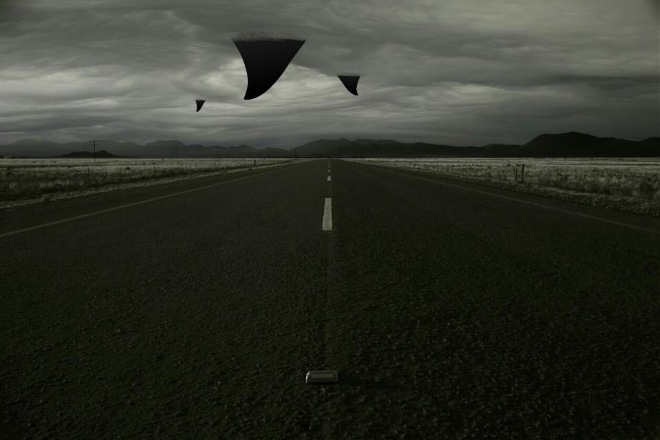 #shark #clouds #road #blackandwhite