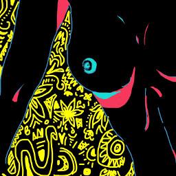 woman body neon draw madebyme