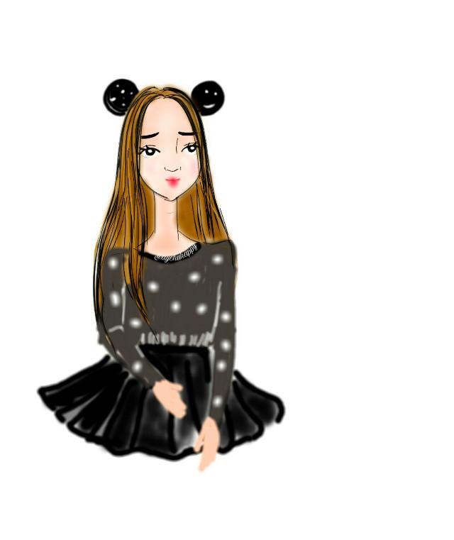 😊😊😊  # МояСамая милая  #drawing #FreeToEdit  #mydrawing  #girl #cute #sweet #lovely #mickey  #love  #like #snow  #colorful  #colorsplash  #draw #nice #beautiful  #beauty  #best