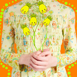 freetoedit flowerchilddressremix pineapple neonoutlines dailyremixmechallenge