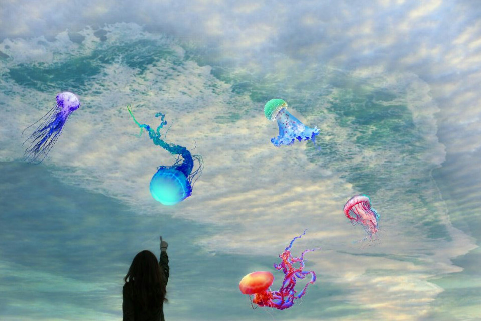 FEATURED   #edited #remixit #doubleexposure  #jellyfish  #clouds #sky #sea #waves #woman #clipart #freetoedit Op @anooshn and  @freetoedit