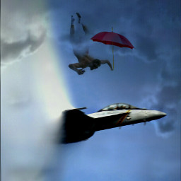 FreeToEdit jet falling man umbrella remixed