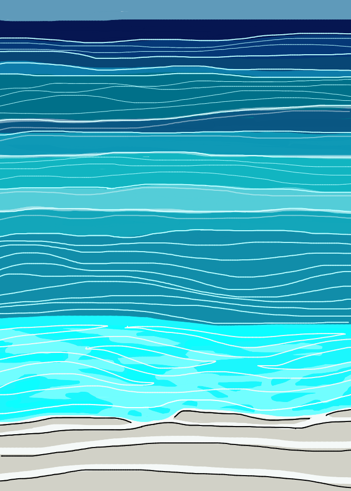 On The Beachcutieswaqqer20 Drawing Ocean Beach Waves