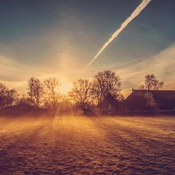 summertime sunrays foggy nature landscape freetoedit